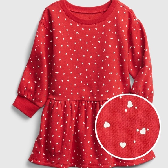 NWT Gap Toddler Heart Tiered Dress, Red, 5T